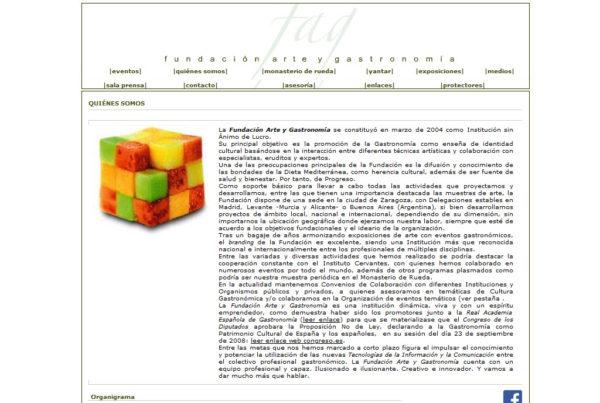 Fundación Arte y Gastronomía Diseño web