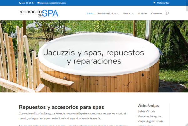 Diseño web Reparación de spas